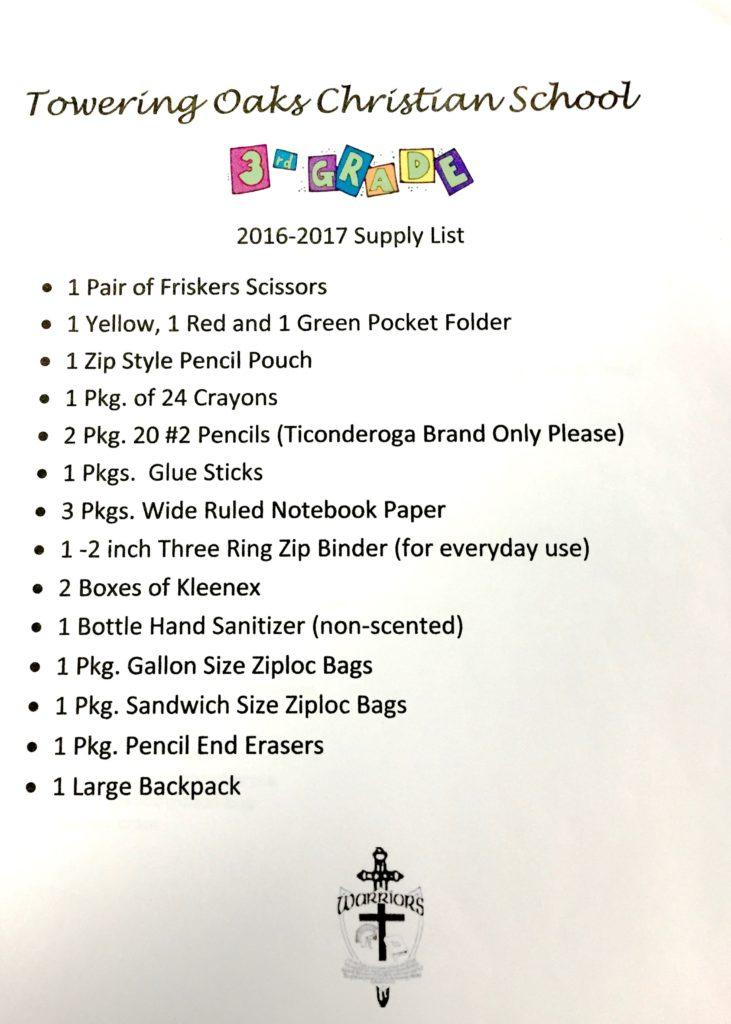 3rd Grade 2016 Supply List