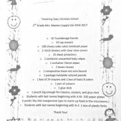 2nd Grade 2016 Supply List