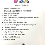 3rd Grade 2016 Supply List