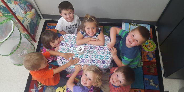 Preschoolers at a table