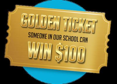 golden ticket logo, win $100
