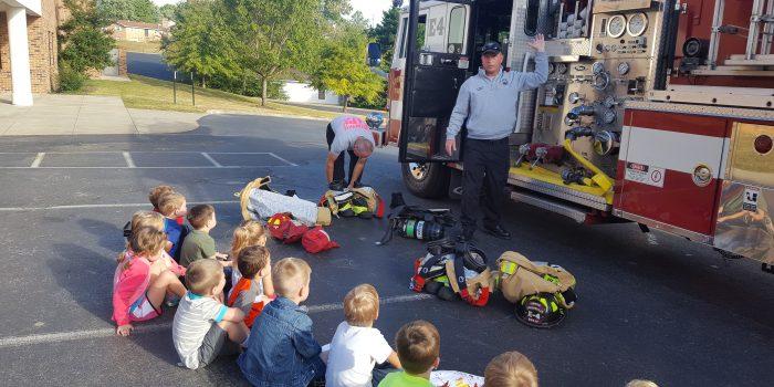 Preschoolers at a firetruck