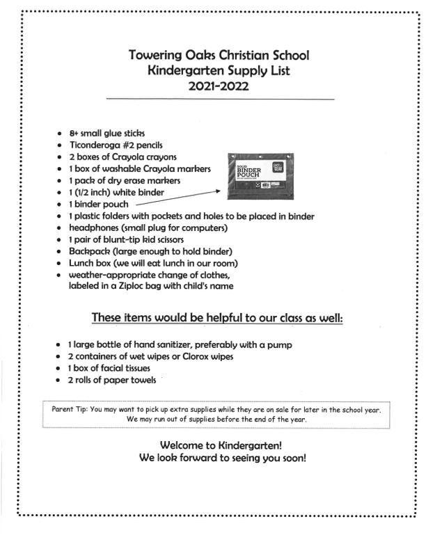 Preview of Kindergarten Supply List